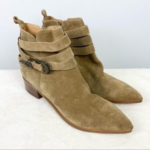 Marc Fisher Mlyandi Suede Western Ankle Boots Tan 9